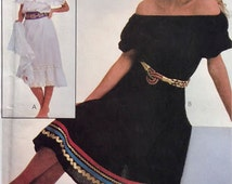 1980s woman boho dress pattern, McCall's 8009, size Petite, pullover, elastic neckline & waist, Bust 30.5 - 31.5 inches, PREVIOUSLY CUT