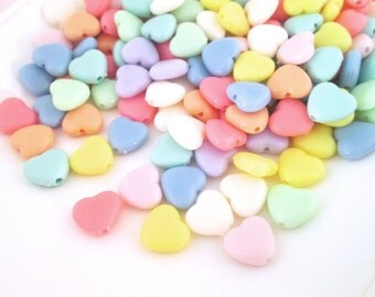 Pastel Fairy Kei Heart Beads, 11x12mm Kawaii Cabs, #737