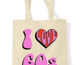 I love 1960's Cotton Tote Shopping Bag