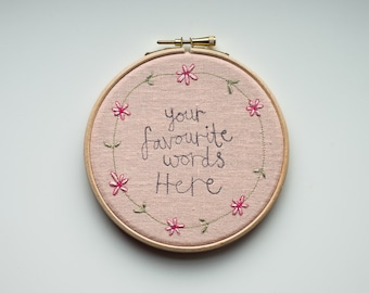 Custom Embroidered Hoop Art, Personalised Gift, Textile Wall Art, Custom Handwriting, Daisy Chain Design