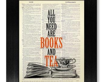 BOOK ART Print Dictionary Paper, KITCHEN Decor Wall Decal, Tea Wall Art, Love Reading, Literary Gift Man, Laundry Room Art Literature Poster
