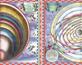 haemisphaeri silk foulard 'orbium' - wonderful silk scarf printed with the old constellations, hand rouliert