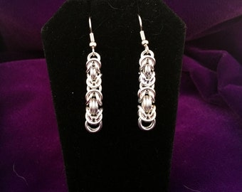Silver Chainmaille Earrings - Aluminum - Byzantine - Chainmail Jewelry