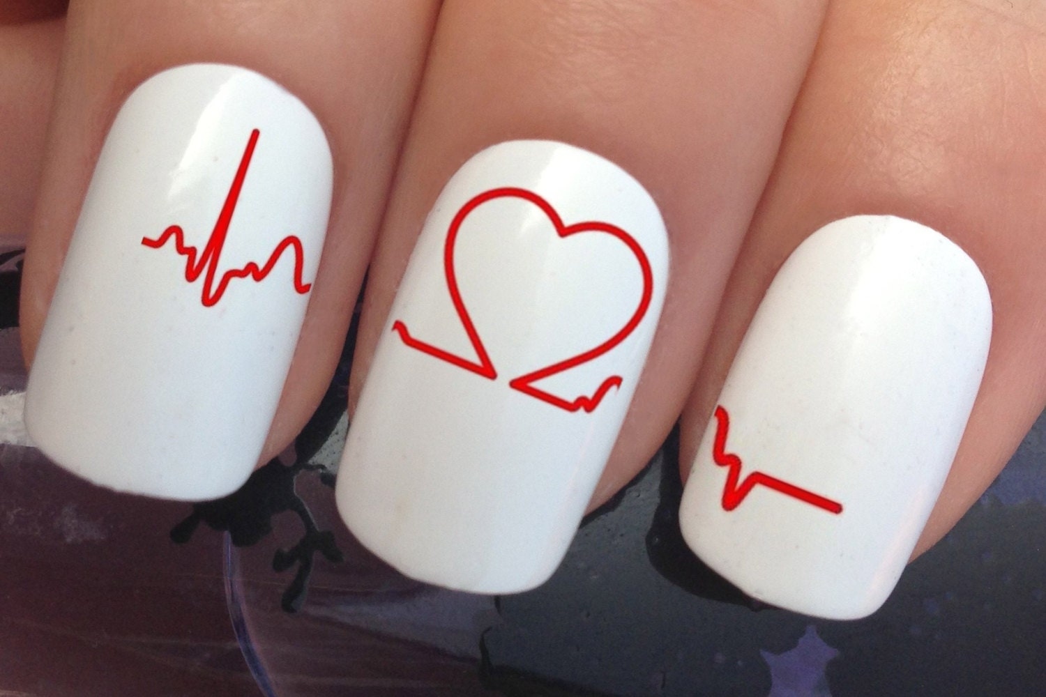 nail decals #348 pregnancy fetal heartbeat line water ...