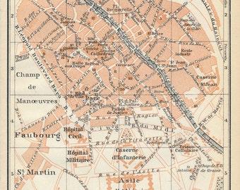 1910 Tournai Belgium Antique Map