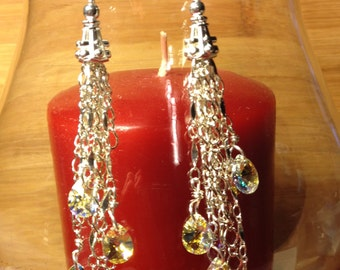 Linear dangle chain earrings with Swarovski crystals