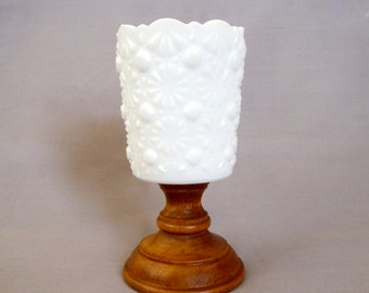 Milk Glass Votive Candle Holder with Wooden Base