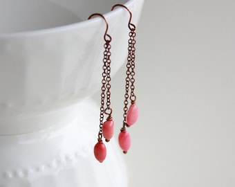 Copper Chain Dangle Pink Coral Drop Earrings