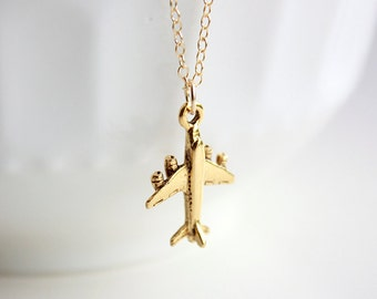 Gold Airplane Necklace, Jet Plane Necklace, Charm Necklace, Travel Jewelry, Flight Attendant Gift, Pilot Gift, Airplane Charm, Gift for Her