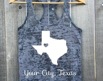 CUSTOM Your City and State Heart Burnout Racerback Tank Top