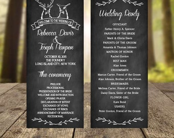 Chalkboard Wedding Program, Rustic Wedding Program, Printable Weddng Program, Unique Wedding Programs, Wedding Program Printable, Download
