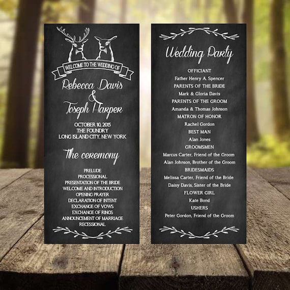Items Similar To Chalkboard Wedding Program Rustic Wedding Program Printable Weddng Program