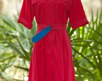 80's Shirt Dress Dress // Red Chino Shirt Dress //  Indie Dress