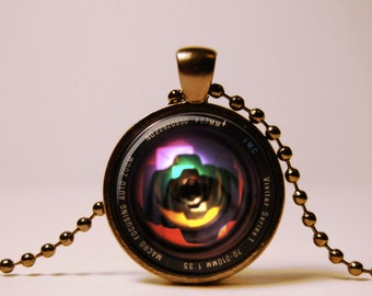 Vintage Camera lens pendant  grahpex pendant  Camera lens necklace Multi Color Necklace, Colorful Necklace