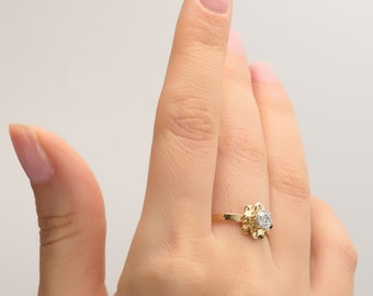Flower Engagement Ring - 14K Gold and Diamond engagement ring, engagement , leaf ring, flower ring, antique, vintage, delicate ring