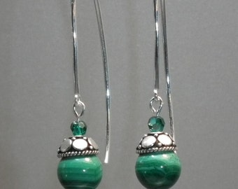 Green malachite dangle earrings with sterling silver ear wires and Swarovski crystal