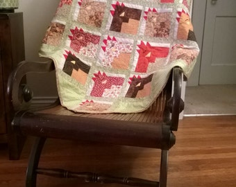 "Just Us Chickens Lap Quilt 51"" x51"" in cotton"