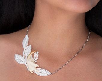 Muskrat jaw bone lace necklace taxidermy jewelry real bone elegant