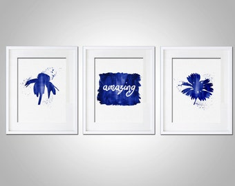 Watercolor Art Print Amazing Inspirational Motivational Print Set of 3 Modern 5x7 8x10 11x14 Wall Decor Illustration Gift Flowers Print Art