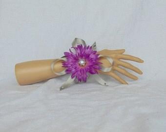 Purple and grey corsage - Purple corsage - rhinestone corsage - wedding corsage - dance corsage - prom corsage - wrist corsage