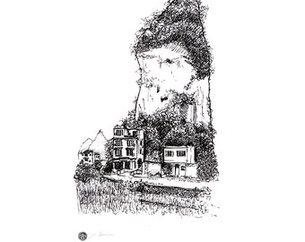 House in Yangshuo, china. Pen and ink drawing produced as black and white giclee digital prints