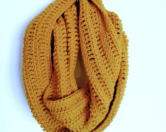Gold Infinity Scarf, Mustard Infinity Scarf, Yellow Infinity Scarf, Mustard Scarf, Gold Scarf, Mustard Crochet Scarf, Crochet Infinity Scarf