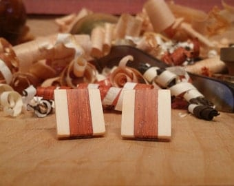Padauk and Holly Two Color Handmade Earrings - Stainless Steel Posts