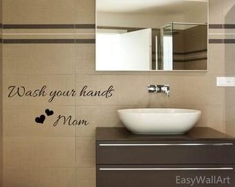bathroom wall decal u0027wash your handsu0027 vinyl bathroom decal bathroom wall art
