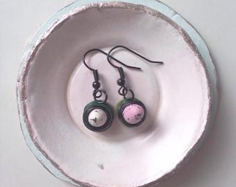 Miniature Speckled Egg Earrings, Handmade Bird Nest Jewellery