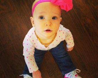Hot Pink Chiffon Hair Bow, Baby Headband, chiffon baby headband, Newborn headband, Baby Hair Bows.