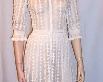 Fine White Lace Crocheted Gown with Beautiful Detailing