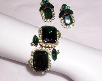 1960's Demi-Parure Green Rhinestone Clamper Bracelet and Earring Set