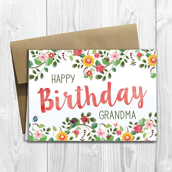 PRINTED Floral Watercolor Happy Birthday Grandma 5x7 Greeting