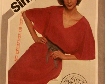 Vintage 1981 Sewing Pattern, SIMPLICITY 5145. USA Size 6 + 8.  Pullover Dress and Sash Pattern.