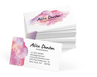 WATERCOLOR Business Card Template - Printable business card design, custom business card, photoshop, psd business card design