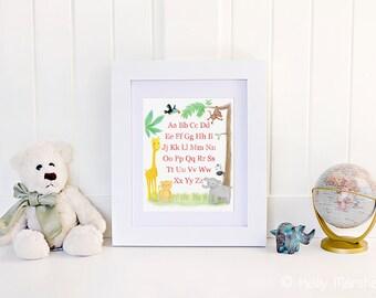 ABC Print...Jungle Art Print..Jungle Bedroom ABC...Alphabet Art...Child Alphabet Print..Baby Name Print...by Sweet Cheeks Images