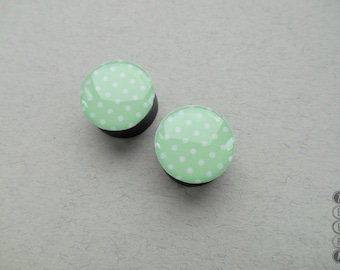 Pair gauges Polka Dot image wooden ear plugs 4,5,8,10,11,12,14,16,18,19,25-60mm;6g,4g,2g,0g,00g;1/4,5/16,3/8,1/2,9/16,5/8,3/4,7/8,1 1/4""