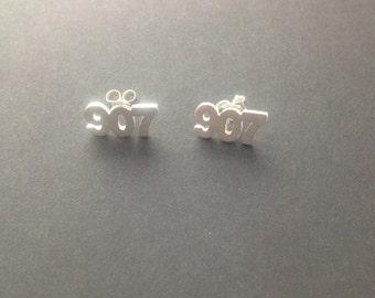 "Alaska earrings. Area code earrings. Alaska jewelry. Hometown pride. ""907 Earrings""."
