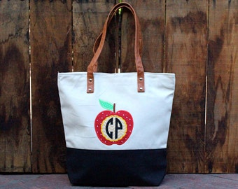 Monogrammed Apple Canvas Tote Bag -  Black Canvas Tote Bag - Teacher Gift