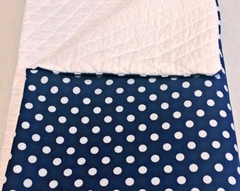 CLEARENCE! Navy blue baby blanket, polkadots, polka dot blanket, baby blanket, baby shower gift, large blanket, new baby