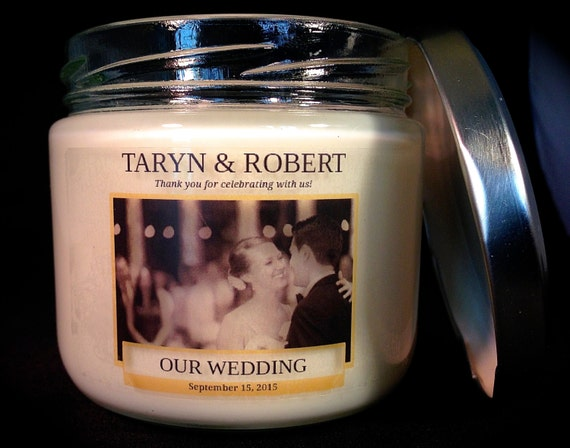 Wedding Favors Custom Large Jar Candle Labels By PKCustomDesigns