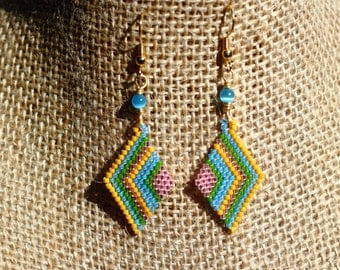 Brick Stitch Beaded Cheerful Spring Earrings, Diamond Shaped Beadwork Earrings in Pink, Blue, Green, and Yellow