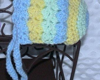 Newborn Baby Crocheted Pastel Rainbow Bonnet Blue/Green/Yellow