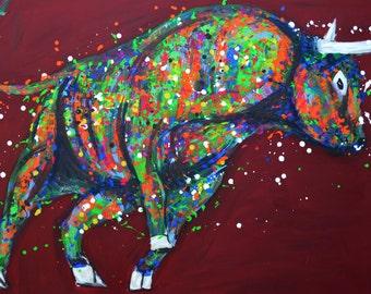 SALE 50% OFF. Animal painting Bull 48״, Animal Original Bull painting, Colorful pop art Bull, Large painting, Bordeaux background