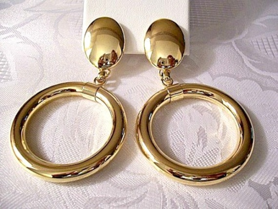 large clipon earrings monet oval button big hoops clip on earrings gold tone 8026