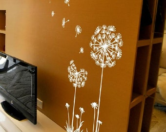 Dandelion wall decal,flow in the wind wall decal,dandelion wall stickers,dandelion flying wall decal children's room wall sticker -16 colors
