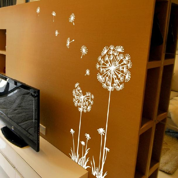Dandelion wall decalflow in the wind wall decaldandelion - Sticker mural pissenlit ...