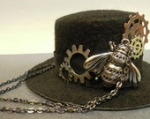Steampunk Mini Hat - Black with Silver & Copper Gears, Metal Bee and Gunmetal Chain