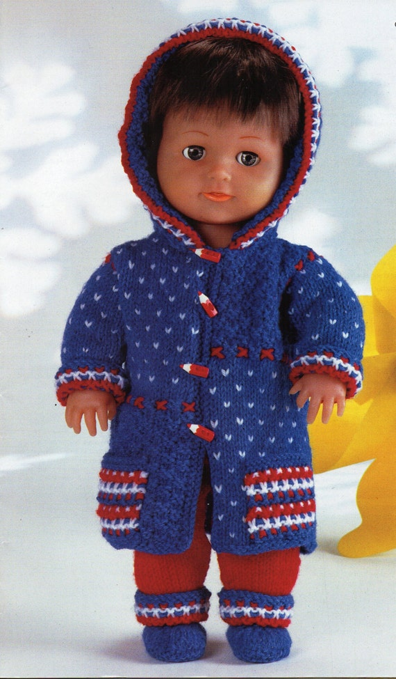 Knitting Pattern For Dolls Trousers : Baby Dolls Knitting Patterns Baby Dolls Hooded Coat Trousers