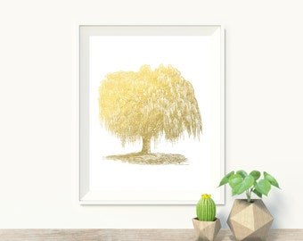 Willow Tree Faux Gold Foil Art Print - Mystical Art - Wall Art - Office Decor